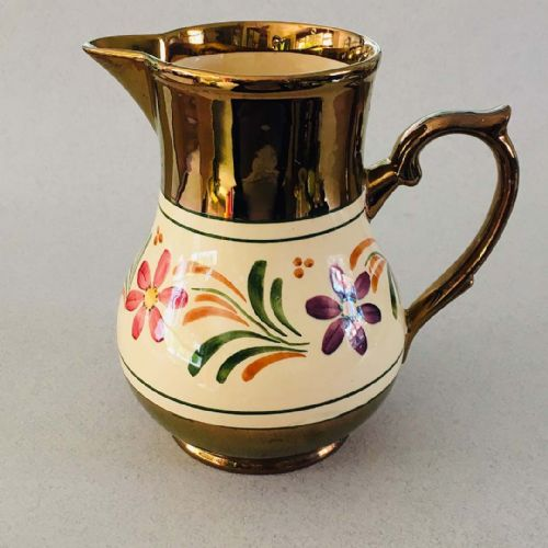 Wade Heath | Large Copper Lustre Floral Jug | 1930s 1940s